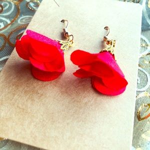 Red and Gold Flowered Dangly Earrings